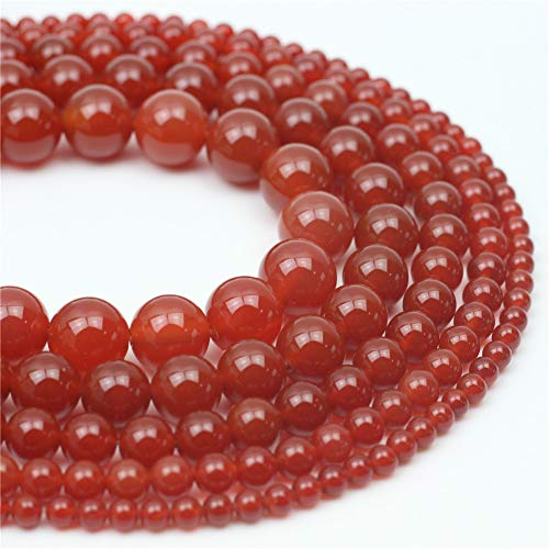 Oameusa Natural Round Smooth 6mm Red Agate Beads Gemstone Beads Loose Beads Agate Beads for Jewelry Making 15