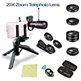 Phone Camera Lens kit 20x Zoom telephoto Lens + Super Wide Angle + Macro + Fish Eye + CPL iPhone X/8/7/6s/6 Plus, Samsung, Android Smartphones
