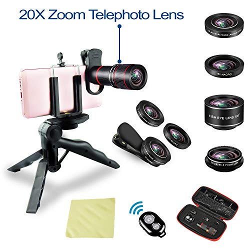 Phone Camera Lens kit 20x Zoom telephoto Lens + Super Wide Angle + Macro + Fish Eye + CPL iPhone X/8/7/6s/6 Plus, Samsung, Android Smartphones by HONIG