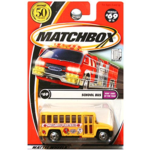 MATCHBOX KIDS' CARS OF THE YEAR YELLOW SCHOOL BUS #69 BULLDOGS FOOTBALL STATE CHAMPS 2002