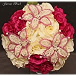 Wedding-Bridal-Bouquet-Dark-Fuchsia-Pink-and-Ivory-Cream-15-PC-Set-BEADED-Lily-Package-with-Rose-Corsages-and-Boutonnieres