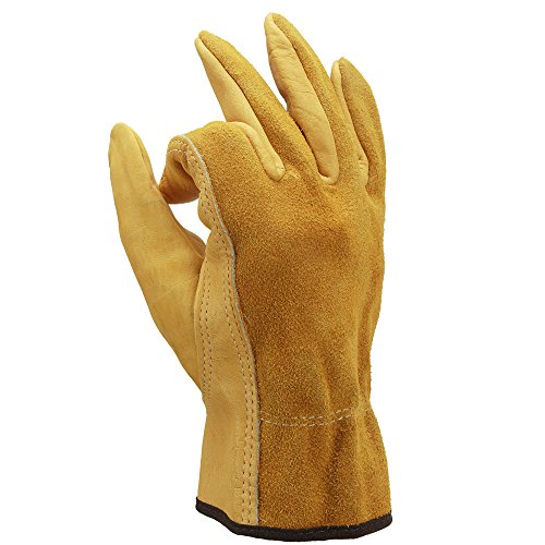 OZERO Leather Work Gloves, Genuine Cowhide Construction Glove with Elastic Wrist for Men & Women - Good Grip & Flexible for Heavy Duty/Truck Driving/Warehouse/Gardening/Farm - Yellow (1 Pair/Large)