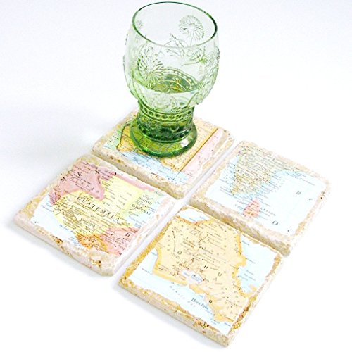 Personalized Natural Stone Vintage Map Coasters