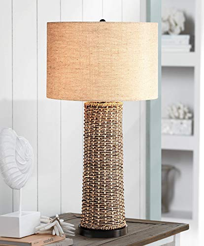 Coastal Table Lamp Woven Seagrass Burlap Drum Shade for Living Room Family Bedroom Bedside Nightstand Office - 360 Lighting (Burlap Lamps For Living Room)