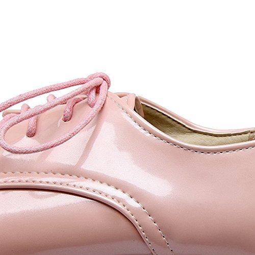 AllhqFashion Mujeres Mini Tacón Puntera Redonda Cerrada Sólido Cordones De salón con Nudo Rosa