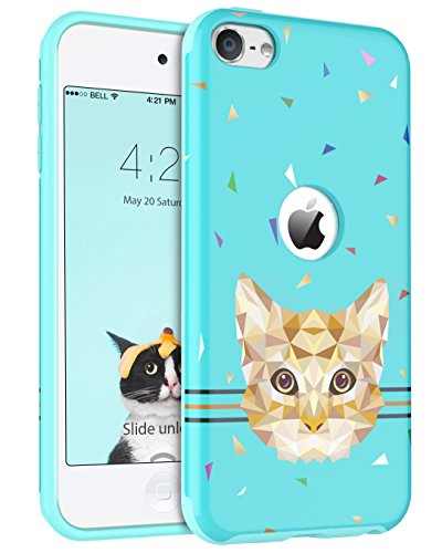 iPod Touch 6 Cases, iPod Touch 5 Case,BENTOBEN Slim Shockproof Hard PC Back Hybrid Soft TPU Edge Anti-Scratch Cute Geometric Cat Pattern Protective Case for iPod Touch 5th/6th Generation,Mint Green