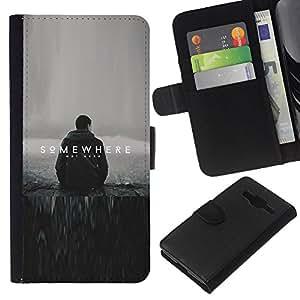 // PHONE CASE GIFT // Moda Estuche Funda de Cuero Billetera Tarjeta de crédito dinero bolsa Cubierta de proteccion Caso Samsung Galaxy Core Prime / Somewhere /