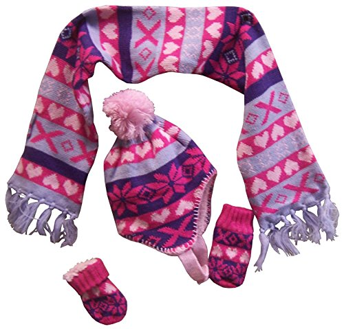 rls And Infants Sherpa Lined Snowflake Knitted Set (6-18 months, pink/purple/fuchsia/lt purple print) ()