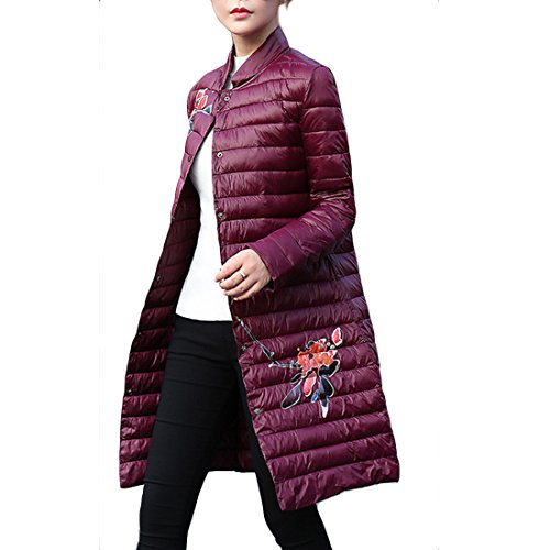 Gaorui Women's Cloak Duck Down Lightweight Long Puffer Jacket Stand Collar Padded Coat Flower Printed Quilted Slim Fit Stand Collar Red