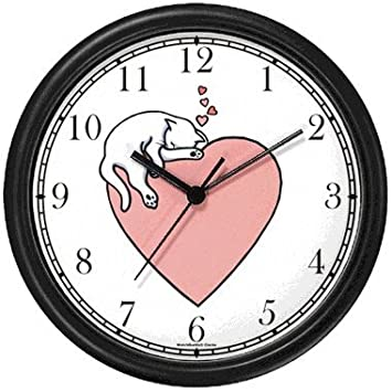 Cat Sleeping - Pink Heart - Cat Wall Clock by WatchBuddy Timepieces (Black Frame)