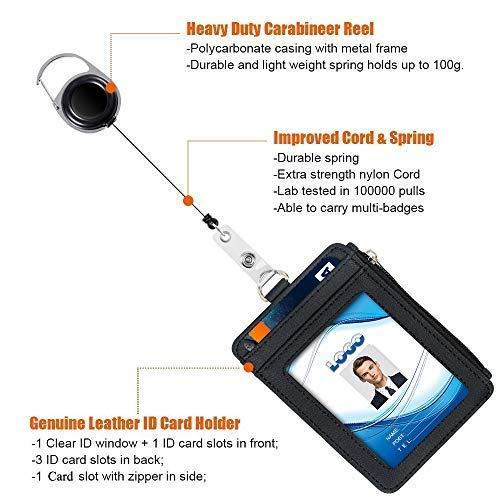 4d74f9b02e4c8 Badge Holder with Zipper, Life-Mate PU Leather ID Badge Card Holder ...
