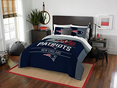 New England Patriots COMBO 5 Pc FULL / QUEEN Size Comforter Set Includes: Comforter, 2 Pillow Shams & 2 Pillowcases -NFL Football Bedding (New England Patriots Pillowcase)