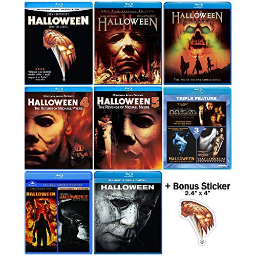 Halloween: Ultimate 11 Movie Collection: Complete Original + Rob Zombie Remakes + 2018 Sequel Blu-ray Series + Bonus Sticker -