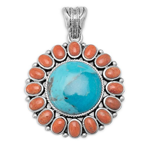 Bunnyberry Reconstituted Turquoise and Coral Sunburst Pendant