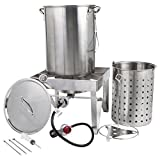 Backyard Pro All-in-One Kit All Stainless Steel 30Qt. Turkey Fryer Kit/Steamer Kit - 55,000 BTU/Outdoor Propane Fry Kit Cooking + 12' Probe Thermometer + 3-Piece Skewer Set + 1 oz. Marinade Injector