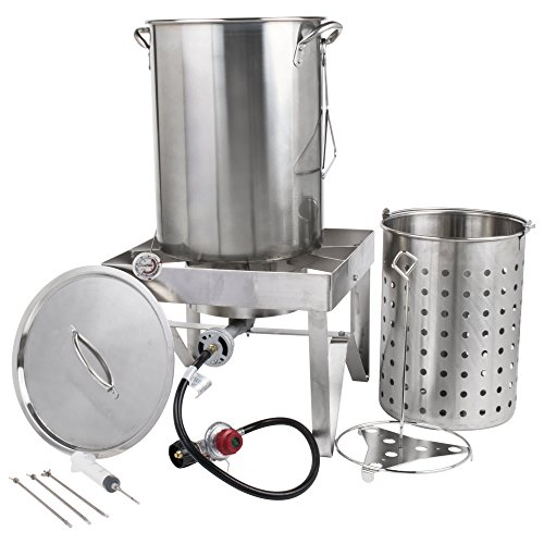 Backyard Pro All-in-One Kit All Stainless Steel 30Qt. Turkey Fryer Kit/Steamer Kit - 55,000 BTU/Outdoor Propane Fry Kit Cooking + 12