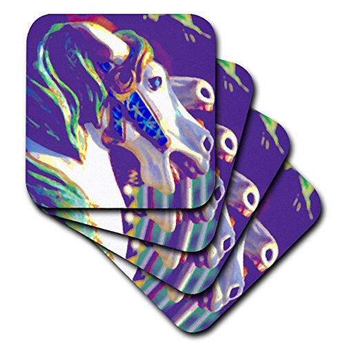 3dRose cst_108249_1 Merry-Go-Round Horse Digital Painting by Angelandspot-Soft Coasters, Set of 4