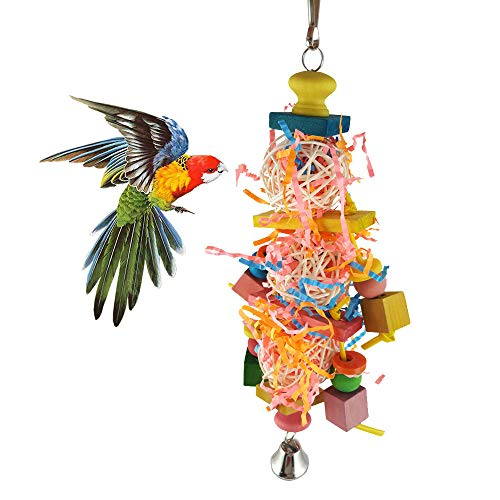 PIVBY Bird Foraging Shredder Toy Parrot Cage Chewing Hanging Toys with Multicolored Wooden Blocks Attract Pet's Attention for Small Medium Birds