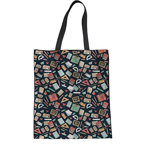 Coloranimal Science Pattern Linen Tote Bag for Girls Reusable Book Bag Teacher Pattern