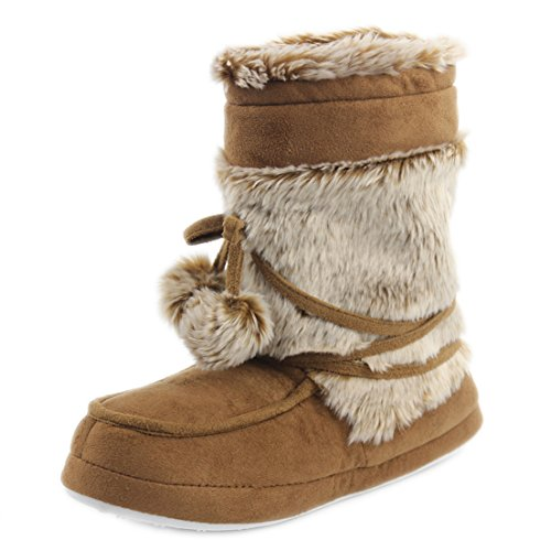 Forfoot Indoor House Soft Slipper Boots, Winter Warm Boot Slippers Shoes Khaki US Women Size M by Forfoot