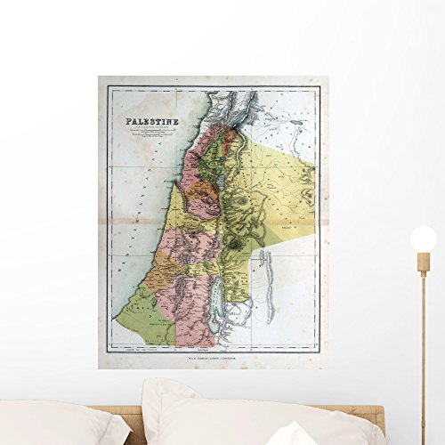 Wallmonkeys Old Map Palestine 1870 Wall Mural Peel and Stick Vinyl Graphic (24 in H x 19 in W) - Antique Palestine