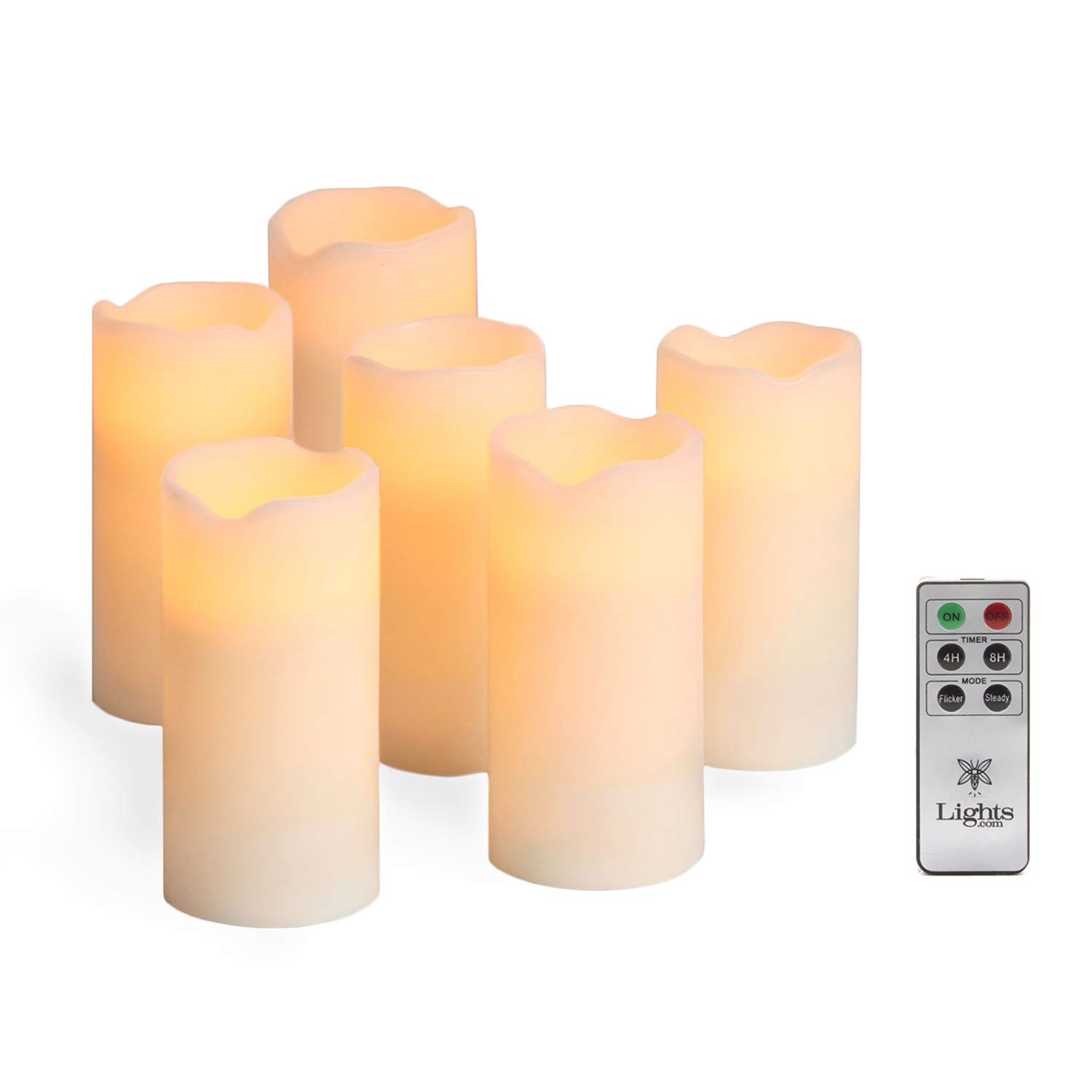 Ivory 6'' Flameless Pillar Candles, Set of 6, Melted Edge Wax, Warm White LEDs, Batteries and Remote Included by LampLust