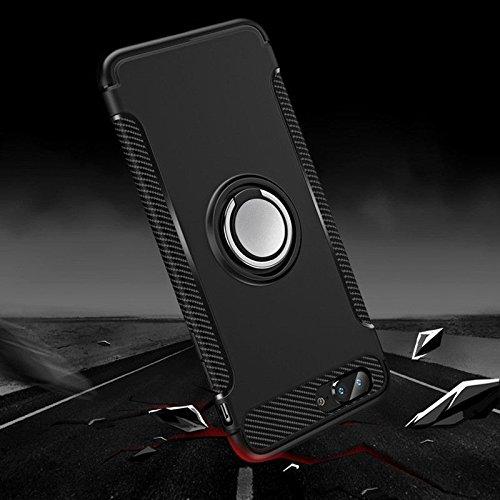 Merssavo Shell del Teléfono del Coche Cubierta de Caso TPU/PC Protección Híbrida con Aro de Soporte de Mango para Apple iPhone 7 Negro 7 plus negro