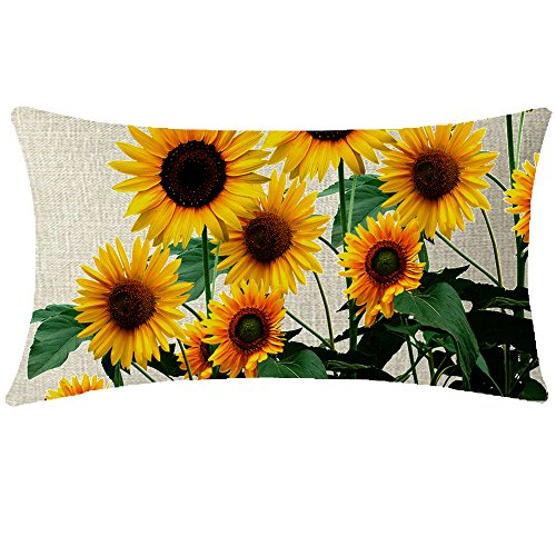 NIDITW Nice Gift Summer Holiday Gift Vibrant Sunflower Waist Lumbar Cotton Linen Throw pillow case Cushion cover for Sofa home decorative Rectangular 12x20 Inches (Nice Pillows Throw)