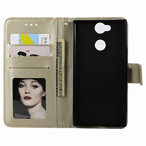 Laybomo Sony Xperia XA2 Ledertasche Schuzhülle Weiches TPU Silikon Cover Magnetisch Stehen Brieftasche Schale Handyhülle für Sony Xperia XA2 mit Kartensteckplatz, Zauberarray (Golden) Golden