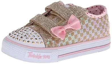 Skechers Kids Twinkle Toes Light-up Sneaker,Gold/Pink,5 M US Toddler