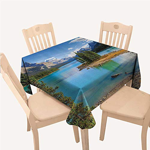 (Lake House Decor Collection Polyester tablecloths Maligne Lake in Jasper Natioanal ParkAlberta Square tablecloths W50 xL50 inch Canada Summer Day Outdoor PictureGreen)