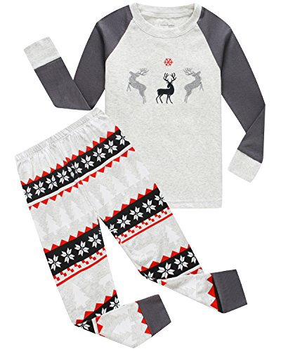 Boys And Girls Christmas Pajamas Cotton Reindeer Toddler Clothes Kids Pjs Sleepwear Size 6T (Christmas Boy Pajamas)