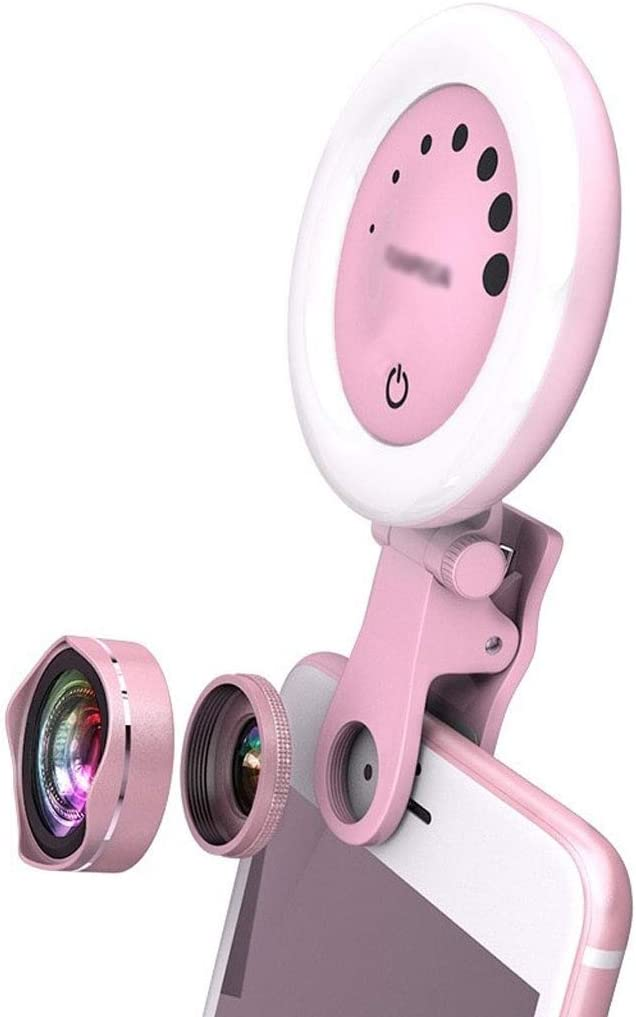 DFYYQ LED Fill Light for Phone Wide-Angle Macro Lens Touch Screen Adjust Beauty Light Outdoor Live Selfie Light Flashes Color : Pink