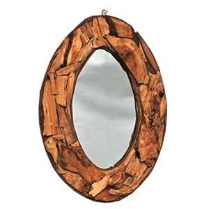 Espejo de pared con marco de madera natural marrón ovalado 53 x 37 cm