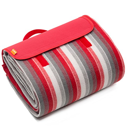 Folded Picnic Blanket (YONOVO Large Waterproof Picnic Blanket Mat for Camping Beach Outdoor (Red-B-79