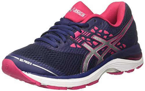 Asics 2018 Ladies Gel-Pulse 9 Road Running Sports Shoes Indigo Blue/Silver/Bright Rose 5UK