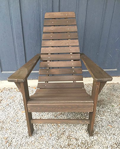 Cedar Wood Adirondack Chair, Amish Made Outdoor Chairs, Weather Resistant Wooden Patio Deck and Porch Outside Furniture, Modern, Casual & Rustic Style Choices (Modern Walnut Stain)