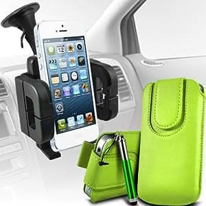Sony Xperia T premium protección PU botón magnético ficha de extracción Slip espinal en bolsa de la cubierta de piel de bolsillo rápido con Retractable Stylus pen & Soporte universal de la succión del parabrisas del coche Vent Cuna verde por Spyrox