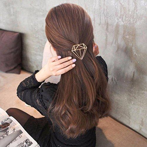Ecurson Hollow Out Diamond Geometric Shape Hairpin Hair Clips Hair Accessories (Gold)
