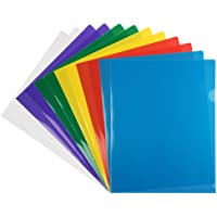 JAM PAPER Plastic Sleeves - Letter Size - 9 x 11 1/2 - Assorted Color Project Pockets - 12 Page Protectors/Pack