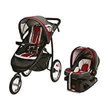 Graco FastAction Fold Click Connect Jogger Travel System with SnugRide 35 Infant Car Seat, Chilli Red