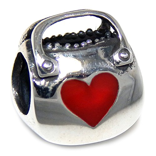 """Solid 925 Sterling Silver """"Born to Shop Purse with Red Heart"""" Charm Bead"""