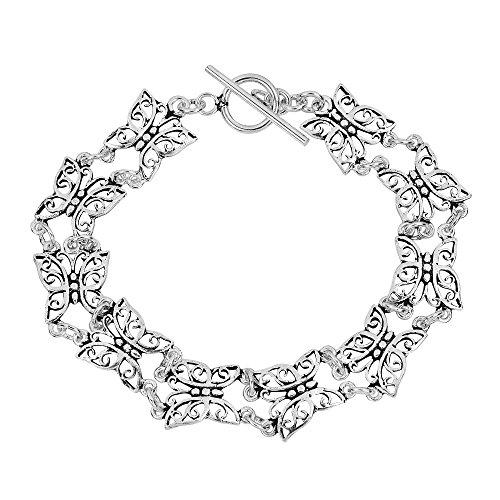 AeraVida Pretty Butterfly .925 Sterling Silver Link Bracelet