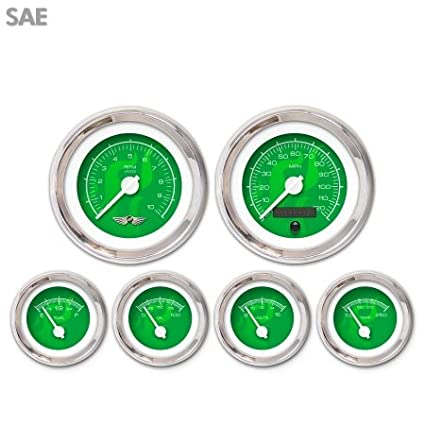 Aurora Instruments 4476 Ghost Flame Green SAE 6-Gauge Set with Emblem White Modern Needles, Chrome Trim Rings, Style Kit DIY Install