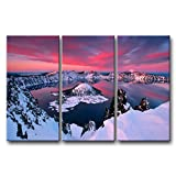 So Crazy Art 3 Pieces Wall Art Painting Crater Lake During Winter Prints On Canvas The Picture Landscape Pictures Oil For Home Modern Decoration Print Decor For Living Room