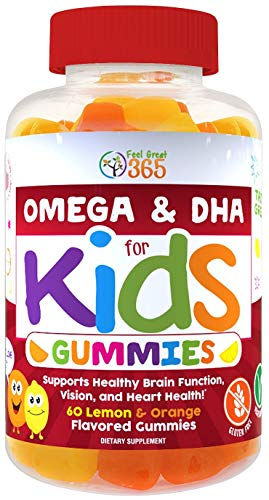 - Complete DHA Gummies for Kids by Feel Great 365 (20 Servings), Omega 3 6 9 from Algae, Chia, and Coconut Oil, Supports Healthy Brain Function, Vision, and Heart Health in a Chewable Vegan Supplement