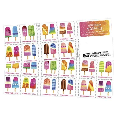 Frozen Treats - 2018 USPS Forever First Class Postage Stamp Scratch-and-Sniff Sheets U.S. Forever 50 Cents (3 Books of 20 Stamps)