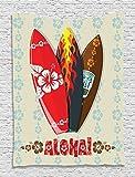 "QH Home 15.7""x23.6"" Decoration Hawaiian Gifts Aloha Hawaii Surfboards Funny Bath Mat Rugs Non-Slip Rectangle Floor Entryways Outdoor Indoor Front Door Mat Carpet (3)"