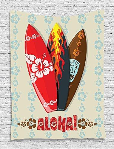 "Aloha Surf Rug Carpet Mat (QH Home 15.7""x23.6"" Decoration Hawaiian Gifts Aloha Hawaii Surfboards Funny Bath Mat Rugs Non-Slip Rectangle Floor Entryways Outdoor Indoor Front Door Mat Carpet (3))"