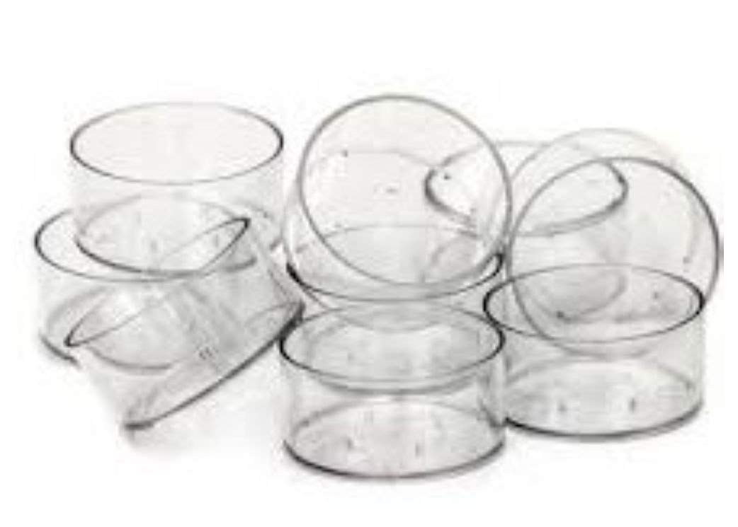 100 x Empty Clear Polycarbonate Tealight Cups. . . 19mm Non-Stackable. . . (38mm x 19mm) Fragrancia